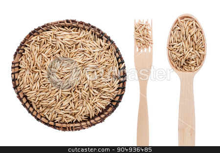 Oats in a plate, fork and spoon stock photo, Oats in a plate, fork and spoon, isolated on white background by alekleks