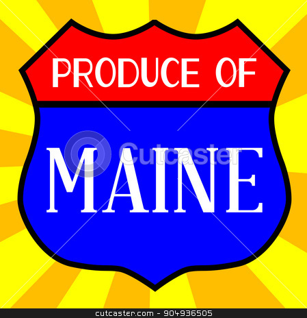 Produce Of Maine Shield stock vector clipart, Route 66 style traffic sign with the legend Produce Of Maine by Kotto