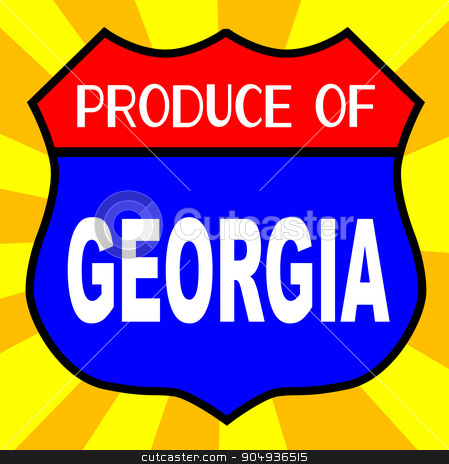 Produce Of Georgia Shield stock vector clipart, Route 66 style traffic sign with the legend Produce Of Georgia by Kotto