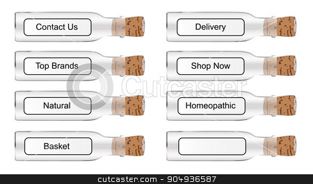 Chemist Style Web Labels stock vector clipart, Chemist style glass remedy bottles with labels over a white background by Kotto