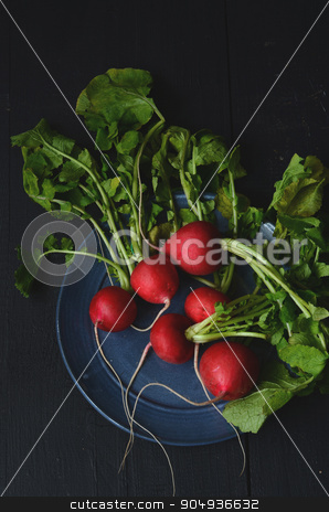 fresh radishes on wooden table stock photo, bunch of fresh radishes on wooden table by sutike