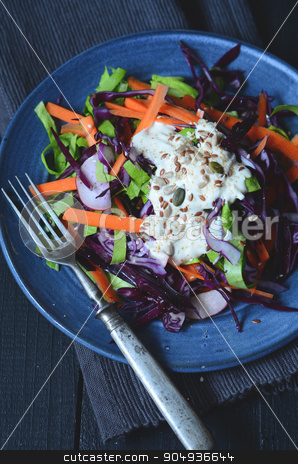 Fresh salad with chopped vegetables stock photo, Fresh salad with chopped cabbages, carrots, radish and lettuce by sutike