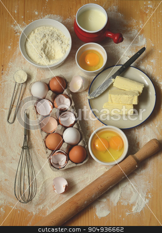 baking ingredients on a table stock photo, baking ingredients on a wooden table. top view by sutike