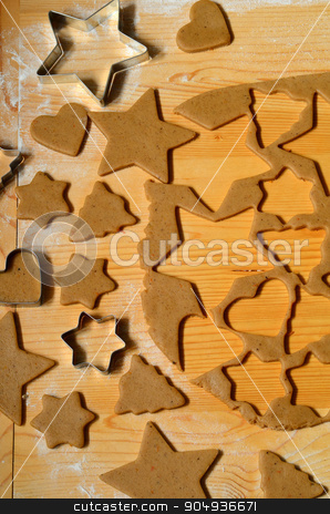Baking ingredients for Christmas cookies stock photo, Baking ingredients for Christmas cookies and gingerbread by sutike