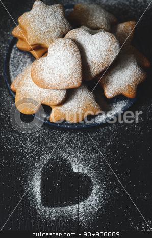 Homemade christmas cookies stock photo, Traditional homemade christmas cookies on wooden table by sutike
