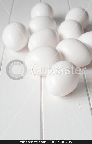 Fresh White Eggs stock photo, Fresh White Eggs on White Kitchen Background by sutike