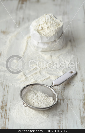 Wheat flour on the table stock photo, Wheat flour on a white wooden table by sutike