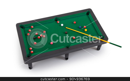 Miniature billiard table stock photo, Miniature billiard table on a white background by michaklootwijk