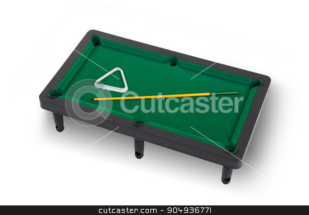 Miniature billiard table stock photo, Miniature billiard table on a white background by michaklootwijk