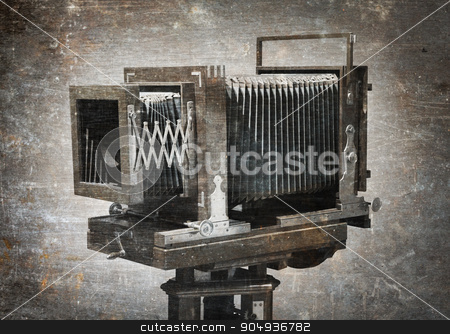 Old wooden camera stock photo, Old wooden camera, isolated - Vintage dirty photo by michaklootwijk