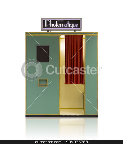 Vintage style photo booth vending machine on a white background stock photo, Vintage style photo booth vending machine on a white background with clipping path by michaklootwijk