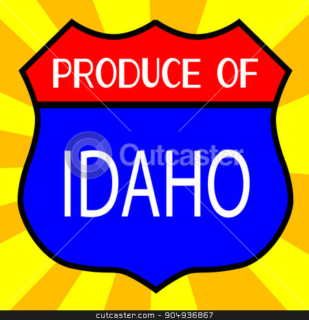 Produce Of Idaho Shield stock vector clipart, Route 66 style traffic sign with the legend Produce Of Idaho by Kotto