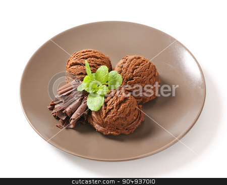 Double chocolate ice cream stock photo, Scoops of dark chocolate ice cream by Digifoodstock