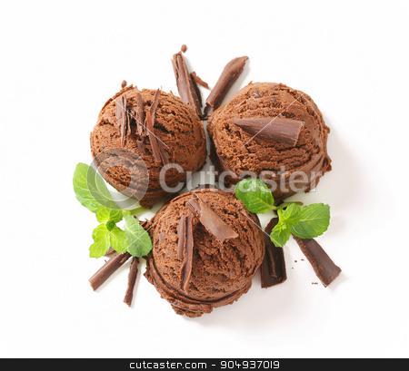 Chocolate ice cream stock photo, Scoops of dark chocolate ice cream by Digifoodstock