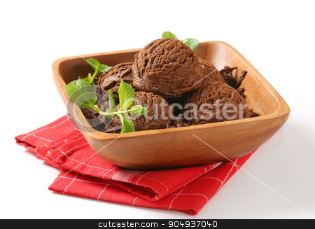Scoops of chocolate ice cream stock photo, Scoops of chocolate ice cream and shavings in wooden bowl by Digifoodstock