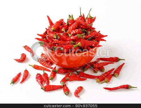 Dried red chilies stock photo, Dried red hot chili peppers by Digifoodstock