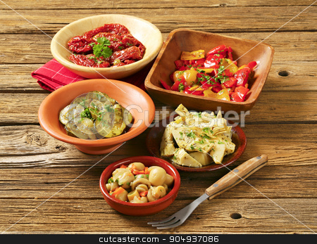 Assorted marinated vegetables stock photo, Assortment of marinated and pickled vegetables by Digifoodstock