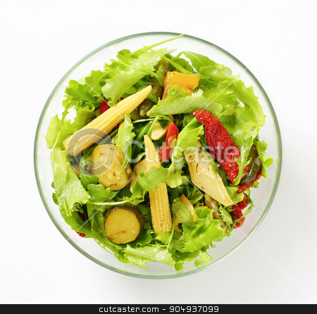Mixed salad stock photo, Bowl of salad with pickled vegetables by Digifoodstock