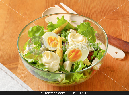 Mixed salad stock photo, Bowl of mixed salad with boiled egg and feta by Digifoodstock