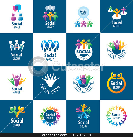 Social Group logos stock vector clipart, set of abstract vector logos people to social groups by Aleksey Butenkov