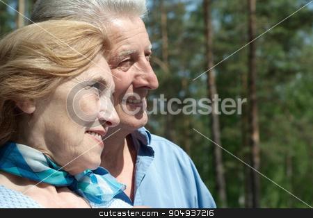 Senior couple in autumn park stock photo, Happy senior couple relax in autumn park by Ruslan Huzau