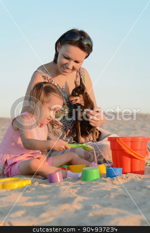 Little cute girl with her mother stock photo, Little cute girl with her mother in park by Ruslan Huzau