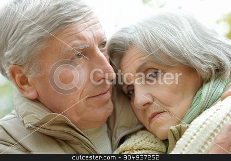 Sad senior couple stock photo, Portrait of a sad senior couple in autumn park by Ruslan Huzau