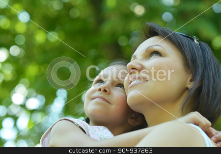 girl with her mother stock photo, Portrait of a little girl with her mother outdoors by Ruslan Huzau