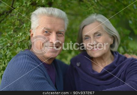 caucasian elderly couple  stock photo, Beautiful caucasian elderly couple in the park by Ruslan Huzau