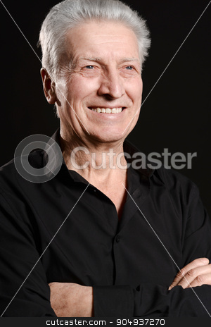 Happy smiling elder man stock photo, Portrait of a happy smiling elder man by Ruslan Huzau
