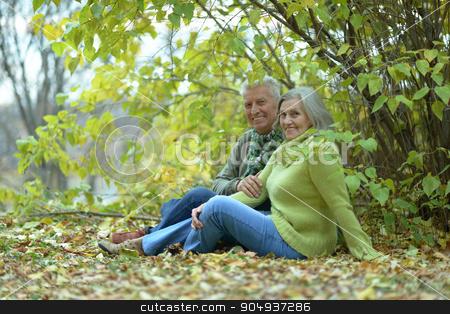 Senior couple in autumn park stock photo, Portrait of a senior couple resting at autumn park by Ruslan Huzau