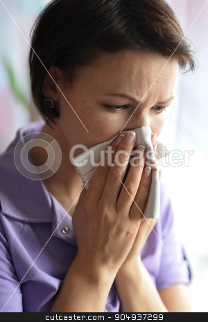Young woman feels sickness stock photo, Portrait of  young woman feels sickness at home by Ruslan Huzau