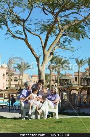 Big family is having fun  stock photo, Big family is having fun in a summer park by Ruslan Huzau