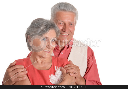 Elderly woman and man stock photo, Elderly woman and man isolated on white background by Ruslan Huzau