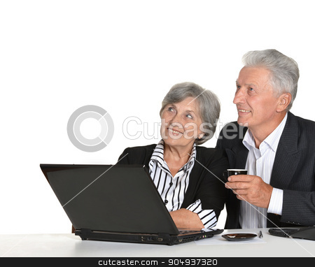 mature couple in the workplace  stock photo, mature couple in the workplace on a white background by Ruslan Huzau