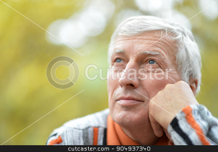 Thoughtful senior man  in  park stock photo, Portrait of thoughtful senior man  in  park by Ruslan Huzau