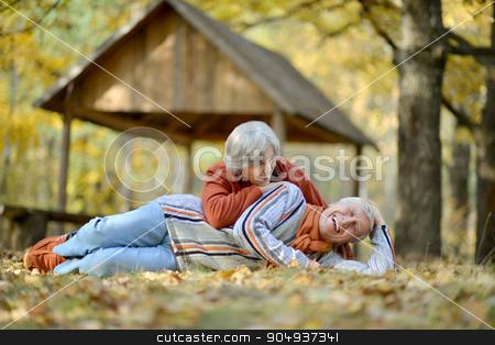 Beautiful Senior couple stock photo, Portrait of a beautiful senior couple in autumn park by Ruslan Huzau