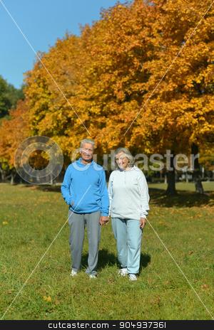 Mature couple in the autumn park stock photo, Mature couple having fun in the autumn park by Ruslan Huzau