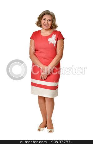 Portrait of senior woman stock photo, Portrait of senior woman in bright dress on white background by Ruslan Huzau
