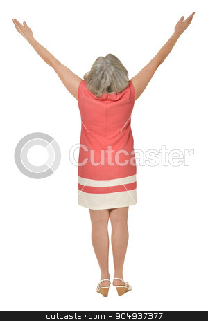 Senior woman in bright dress stock photo, Portrait of senior woman in bright dress on white background by Ruslan Huzau