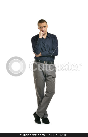 Confident man posing  stock photo, Confident man posing on a white background by Ruslan Huzau
