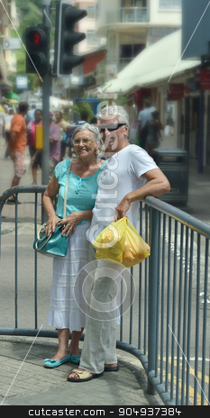 beautiful elderly couple in  market stock photo, Portrait of beautiful elderly couple in  market by Ruslan Huzau