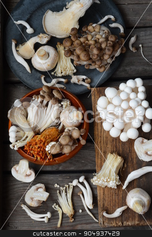 Variety of Mushrooms stock photo, Variety of mushrooms over old wooden table by sutike