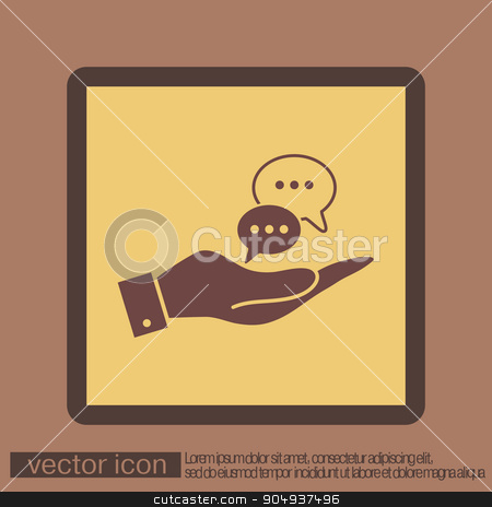 hand holding a cloud of speaking dialogue stock vector clipart, hand holding a the cloud of speaking dialogue by LittleCuckoo