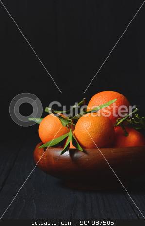 fresh mandarins with leafs stock photo, fresh mandarins with leafs on the kitchen table by sutike