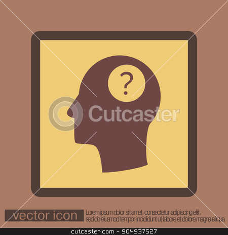 Head with a question mark. Avatar wonders. Icon help stock vector clipart, Head with a question mark. Avatar wonders. Icon help by LittleCuckoo