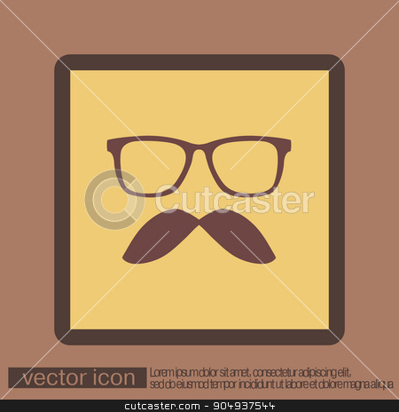 mustache and glasses. hipster icon symbol  stock vector clipart, mustache and glasses. hipster icon symbol  by LittleCuckoo