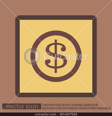 Dollar coin. symbol of money stock vector clipart, Dollar coin. symbol of money by LittleCuckoo