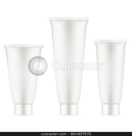 Tube Of Cream White Clean. EPS 10 stock vector clipart, Tube Of Cream Or Gel Grayscale Silver White Clean. EPS 10 vector file included by Vladimir Petrov