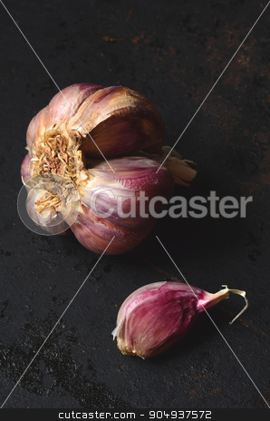 raw pink garlic  stock photo, Close up image of raw pink garlic  by sutike